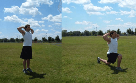 A prisoner lunge is a great leg workout you can do at home.