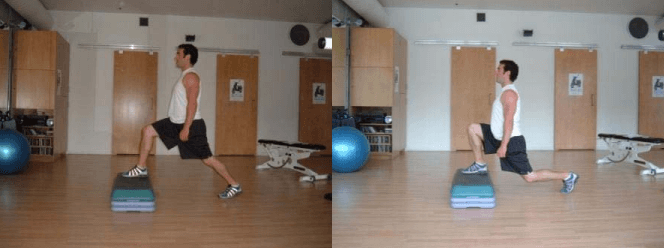 The elevated forward lunge is a great leg workout to do at home.