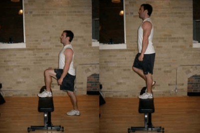 Step ups are a great bodyweight leg workout you can do at home.